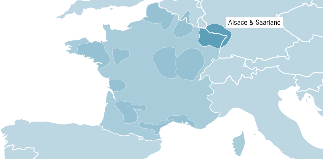 Kart over Alsace