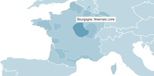 Kart over Bourgogne Nivernais Loire