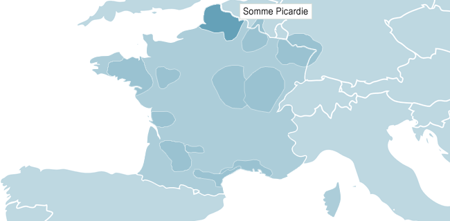 Kart over Somme Picardie