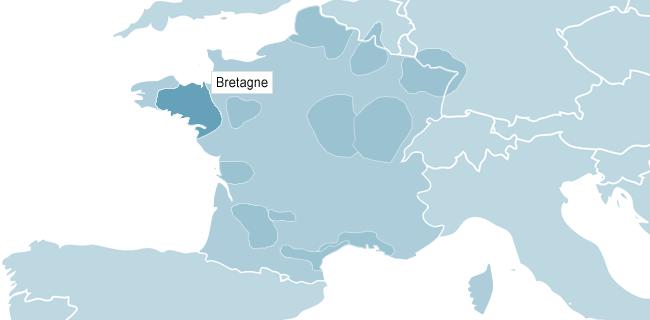 Kart over Bretagne