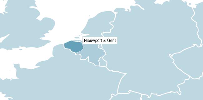 Kart over Nieuwpoort & Gent