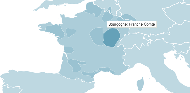 Kart over Bourgogne Franche-Comté