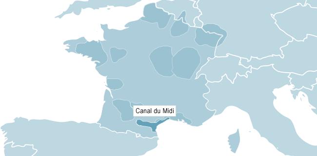 Kart over Canal du Midi