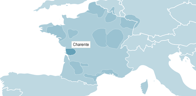 Kart over Charente